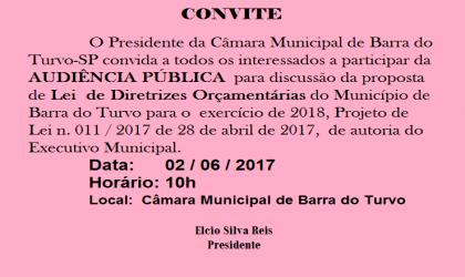 Convite para Audiência Pública da LDO para 2018