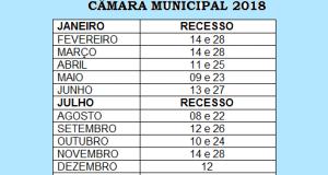 CALENDÁRIO DAS SESSÕES LEGISLATIVAS 2018