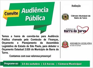 Audiência Pública para Discutir o Orçamento do Estado de SP para 2020